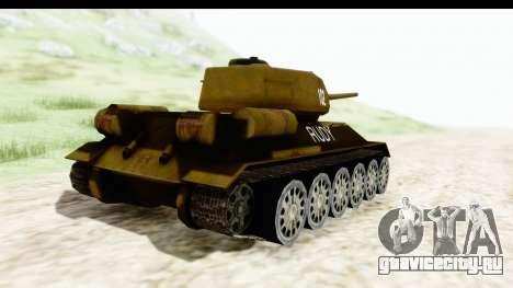 T-34-85 Rudy 102 для GTA San Andreas вид сзади слева