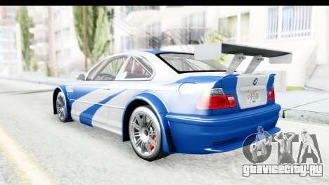 NFS: MW - BMW M3 GTR для GTA San Andreas вид сзади слева
