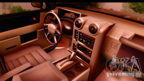 Hummer H2 для GTA San Andreas вид изнутри