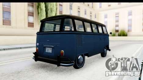 Volkswagen Transporter T1 Deluxe Bus для GTA San Andreas вид сзади слева