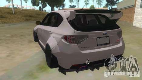 2008 Subaru WRX Widebody L3D для GTA San Andreas вид сзади слева