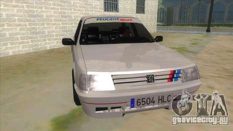 Peugeot 309 Rallye для GTA San Andreas вид сзади