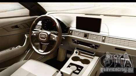 Audi A4 TFSI Quattro 2017 для GTA San Andreas вид изнутри