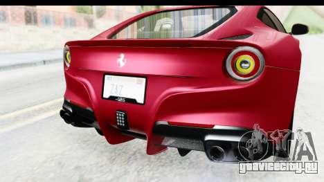 Ferrari F12 Berlinetta 2014 для GTA San Andreas вид снизу