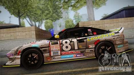 D1GP Nissan 180SX BWest Origin Labo для GTA San Andreas вид сзади слева