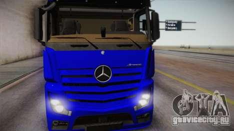 Mercedes-Benz Actros Mp4 6x4 v2.0 Gigaspace для GTA San Andreas вид сзади слева