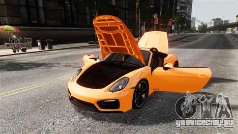 Porsche Boxster GTS 2014 для GTA 4 вид изнутри