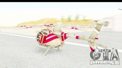 Smaga Sparrow Helis Military Version для GTA San Andreas вид сзади слева