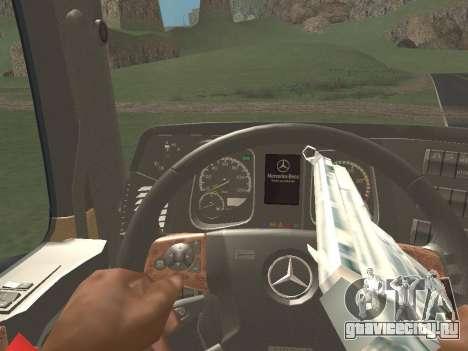 Mercedes-Benz Actros Mp4 6x2 v2.0 Bigspace v2 для GTA San Andreas вид изнутри
