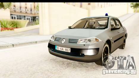 Renault Megane 2 Sedan Unmarked Police Car для GTA San Andreas вид сзади слева