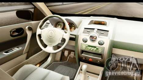 Renault Megane 2 Sedan Unmarked Police Car для GTA San Andreas вид изнутри
