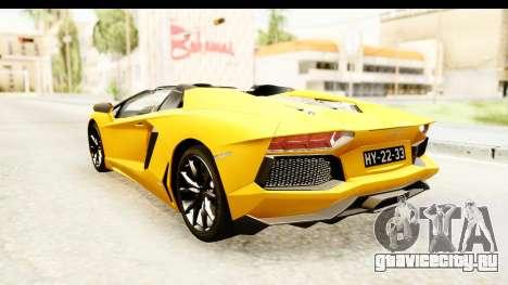 Lamborghini Aventador LP700-4 Roadster v2 для GTA San Andreas вид сзади слева
