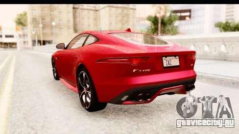 Jaguar F-Type R Coupe 2015 для GTA San Andreas вид сзади слева