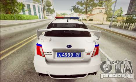 Subaru Impreza WRX STI Police для GTA San Andreas вид сзади слева