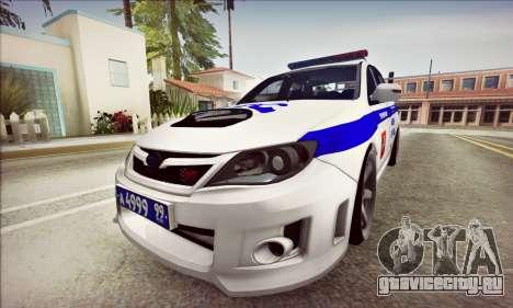 Subaru Impreza WRX STI Police для GTA San Andreas вид слева