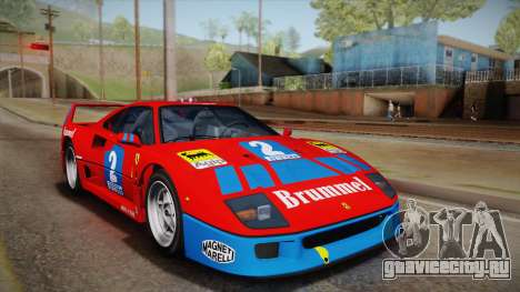 Ferrari F40 (EU-Spec) 1989 HQLM для GTA San Andreas вид сзади