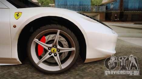Ferrari 458 Spider для GTA San Andreas вид сзади слева