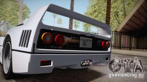Ferrari F40 (EU-Spec) 1989 HQLM для GTA San Andreas вид слева