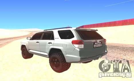 Toyota 4Runner для GTA San Andreas вид сзади слева