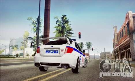 Subaru Impreza WRX STI Police для GTA San Andreas вид сбоку