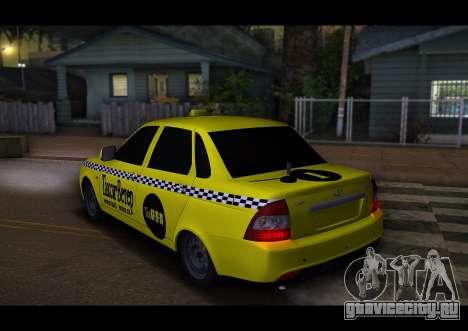 Lada Priora Такси-Ветер для GTA San Andreas вид справа