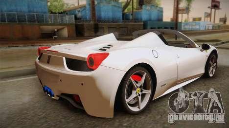 Ferrari 458 Spider для GTA San Andreas вид слева