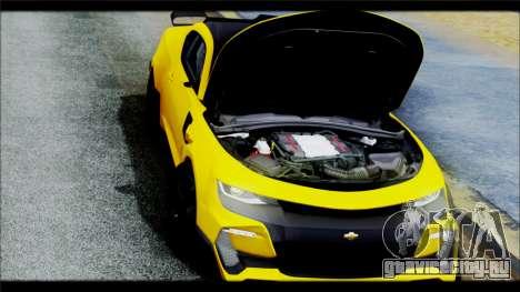 Chevrolet Camaro SS 2016 Bumblebee TF 5 для GTA San Andreas вид изнутри