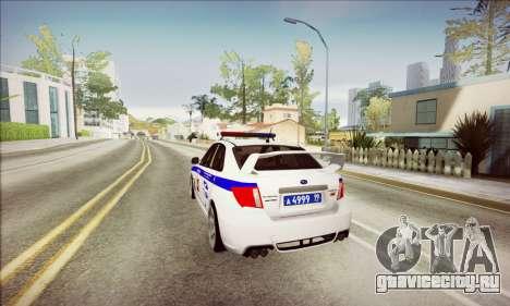 Subaru Impreza WRX STI Police для GTA San Andreas вид сзади