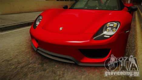 Porsche 918 Spyder 2013 Weissach Package SA для GTA San Andreas вид сверху