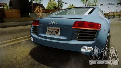 Audi R8 Coupe 4.2 FSI quattro EU-Spec 2008 YCH для GTA San Andreas вид снизу