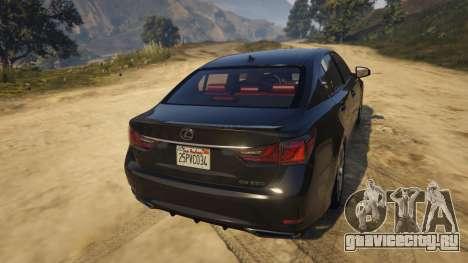 Lexus GS 350 для GTA 5 вид сзади слева