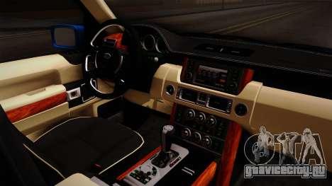 Range Rover 2008 для GTA San Andreas вид изнутри