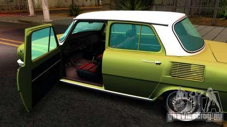 Skoda 100 для GTA San Andreas вид изнутри