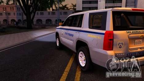 2015 Chevy Tahoe San Andreas State Trooper для GTA San Andreas вид сбоку