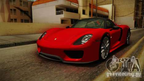 Porsche 918 Spyder 2013 Weissach Package SA для GTA San Andreas вид справа