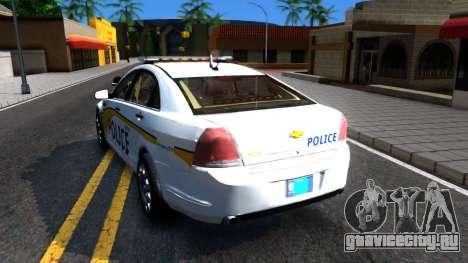 Chevy Caprice Metro Police 2013 для GTA San Andreas вид сзади слева