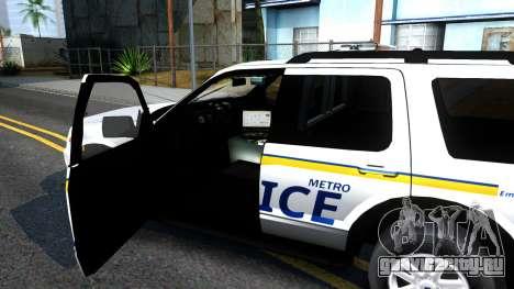 Ford Explorer Metro Police 2009 для GTA San Andreas вид изнутри