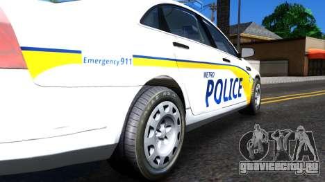 Chevy Caprice Metro Police 2013 для GTA San Andreas вид сзади