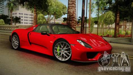 Porsche 918 Spyder 2013 Weissach Package SA для GTA San Andreas