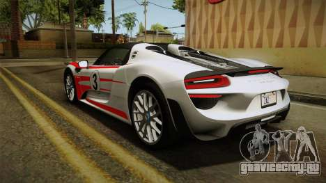 Porsche 918 Spyder 2013 Weissach Package SA для GTA San Andreas колёса