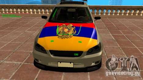 Toyota Altezza Armenian для GTA San Andreas вид сзади слева