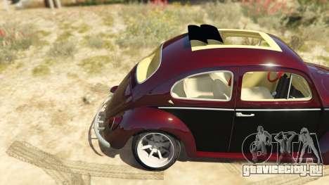 Volkswagen Beetle для GTA 5 вид сзади справа