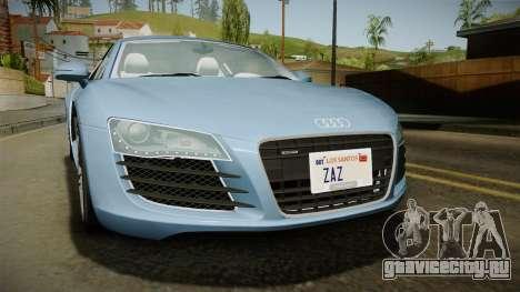 Audi R8 Coupe 4.2 FSI quattro EU-Spec 2008 YCH для GTA San Andreas вид изнутри