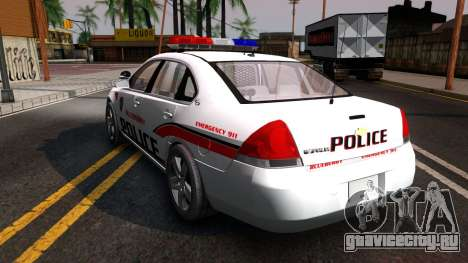 Chevy Impala Blueberry PD 2009 для GTA San Andreas вид сзади слева