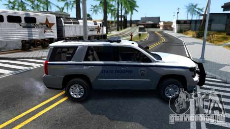 2015 Chevy Tahoe San Andreas State Trooper для GTA San Andreas вид сзади слева