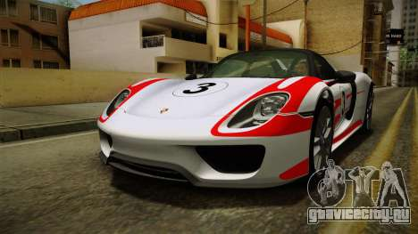 Porsche 918 Spyder 2013 Weissach Package SA для GTA San Andreas двигатель