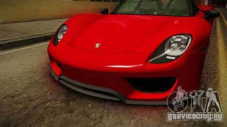 Porsche 918 Spyder 2013 Weissach Package SA для GTA San Andreas вид сбоку