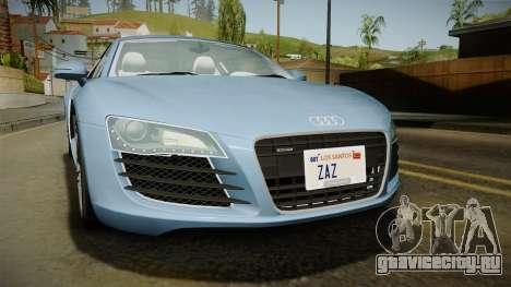 Audi R8 Coupe 4.2 FSI quattro EU-Spec 2008 YCH для GTA San Andreas вид сбоку