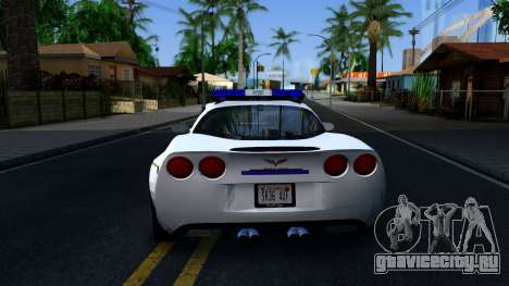 Chevy Corvette Z06 Hometown PD 2006 для GTA San Andreas вид сзади слева