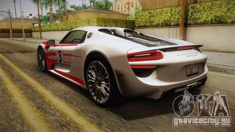Porsche 918 Spyder 2013 SA Plate для GTA San Andreas колёса